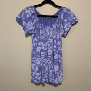 Women's fresh produce blue floral short sleeve top